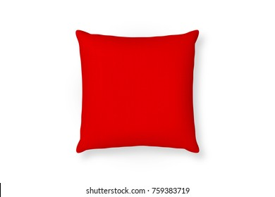Canvas pillow mockup. Red blank cushion isolated background. Top view