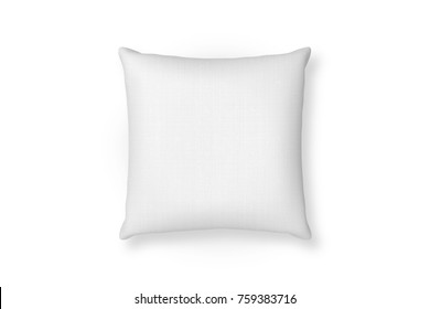 Canvas pillow mockup. White blank cushion isolated background. Top view
