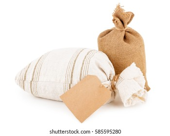 canvas sacks with tag