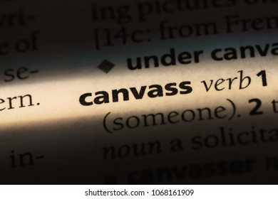 canvass word in a dictionary. canvass concept.