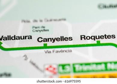 Canyelles Station. Barcelona Metro map.