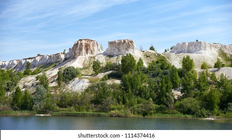 Canyon with chalk mountains and lake in Voronezh region, Russia.