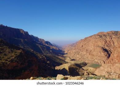 Canyon of Dana Biosphere Nature Reserve landscape from Dana historical village, Jordan, Middle East
