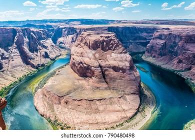 Canyon Glen and the rugged river Colorado. Canyon  Horseshoe Bend