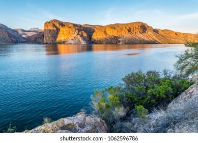 Canyon Lake in Arizona at sunset.