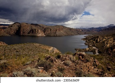 Canyon Lake reservoir on the Salt River in the Tonto National Forest near  Phoenix Arizona.