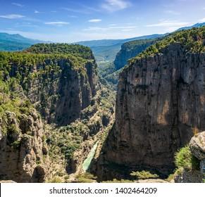 Canyon landscape from Manavgat, Antalya,Turkey. Great Tazi Canyon and cliff.
