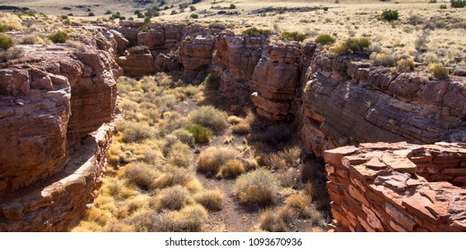 Canyon location of Lomaki Pueblo ruin at Wupatki National Monument in northern Arizona