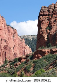 Canyon and Mountain Range Landscape in Zion National Park in Springdale, Utah