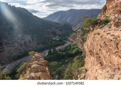 Canyon of mountain river in High Atlas  range, Morocco, Africa