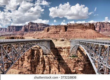 Canyon (Navajo) Bridge crosses the Colorado River's Marble Canyon, Arizona, USA