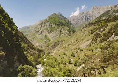 Canyon in North Ossetia.Deep down in the cleft of the river Fiagdon.