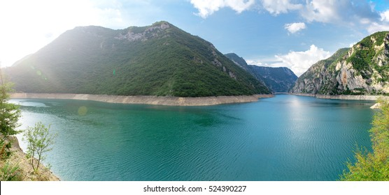 Canyon of Piva lake, Montenegro. Beautiful nature landscape