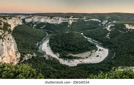 "Canyon of the river ""Ardeche"" at dusk, in the south of France"