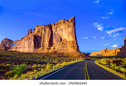 Canyon road in sunny day. Road in canyon. Canyon road landscape. Canyon road panorama