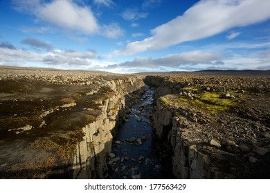 A canyon running through central Iceland
