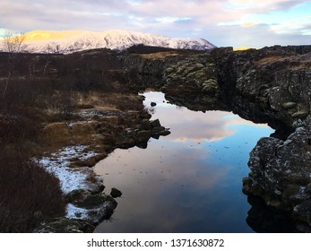 Canyon in Thingvellir National park in Iceland