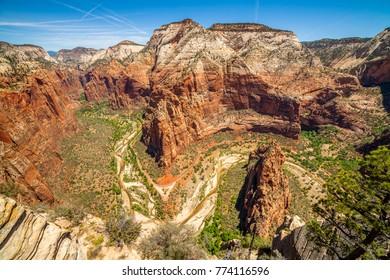 Canyon viewed from Angels Landing, ZNP, Utah, USA