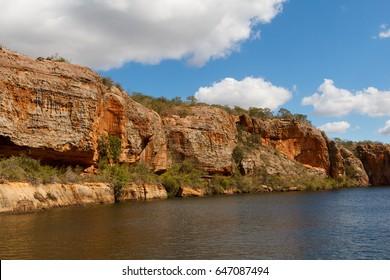 Canyon Xingo of Sao Francisco River in Sergipe state, Brazil. Selective focus