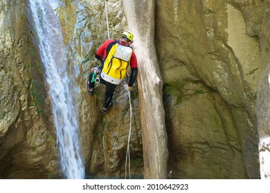Canyoneering Aguare Canyon in Pyrenees, Canfranc village, Huesca Province in Spain.