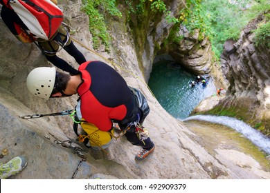 Canyoning In Furco Canyon Broto Pyrenees Huesca Province Aragon Spain