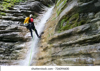 Canyoning in Furco Canyon, Broto, Pyrenees, Huesca Province, Aragon, Spain.