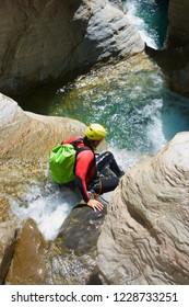 Canyoning in Gorgol Canyon in Pyrenees, Huesca Province, Aragon in Spain.