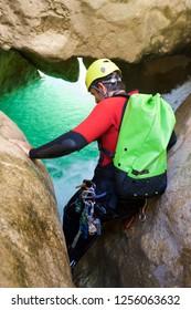 Canyoning in Oscuros del Balcez Canyon, Guara Mountains, Huesca, Aragon, Spain.