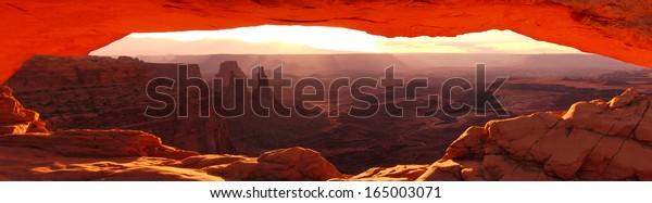 Canyonlands 01 Mesa Arch Sunrise Panorama Utah