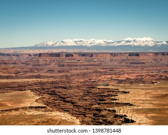 Canyonlands National Park, USA - APRIL 15, 2019: View of amazing vistas and scenary from the grand view point in the Canyonlands National Park