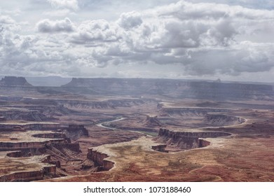 Canyonlands National Park Utah. Storm clouds building over Canyonlands on a spring day.