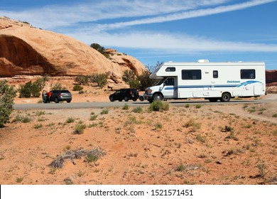 CANYONLANDS, UNITED STATES - JUNE 22, 2013: RV truck parked in Canyonlands National Park, USA. More than 452,000 people visited Canyonlands NP in 2012.