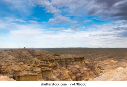 canyons in Mongolia, tsagaan suvraga. Bright landscape in Gobi desert