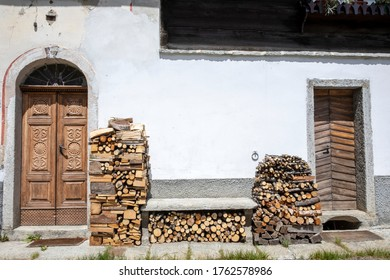 Canza (VCO), Italy - June 21, 2020: Firewood at Canza village, Formazza Valley, Ossola Valley, VCO, Piedmont, Italy