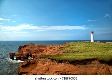 Cap aux meules Lighthouse also called Borgot lighthouse in Magdalen island in Quebec, Canada during summer season