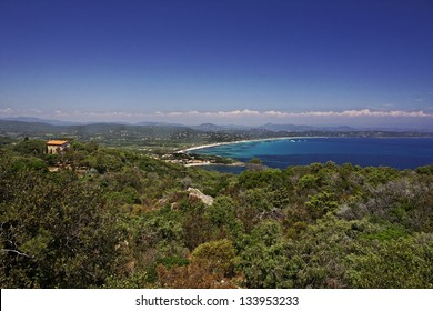 Cap Camarat, Ramatuelle near St-Tropez with Pampelonne beach at the Cote d'Azur, Southern France, Europe