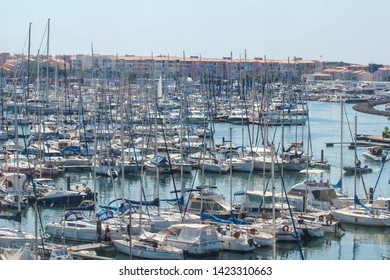 Cap d'Agde, France - 7/29/2018: Marina full of parked yachts in Agde, south of France.