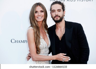 CAP D'ANTIBES, FRANCE - MAY 17: Heidi Klum and Tom Kaulitz arrive at the amfAR Gala Cannes 2018 at Hotel du Cap-Eden-Roc on May 17, 2018 in Cap d'Antibes, France.