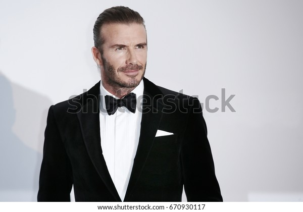 CAP D'ANTIBES, FRANCE - MAY 25: David Beckham arrives at the amfAR Gala Cannes 2017 at Hotel du Cap-Eden-Roc on May 25, 2017 in Cap d'Antibes, France.