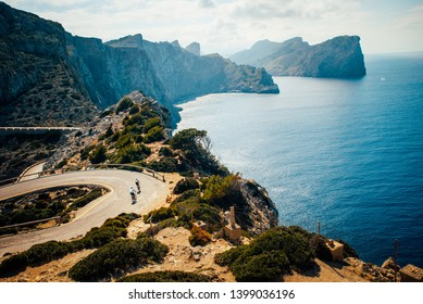 Cap de Formentor. Famous Cycling road at Mallorca, Majorca, Spain.