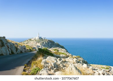 Cap de Formentor, Mallorca, Spain - View from a country road onto the lighthouse or Formentor