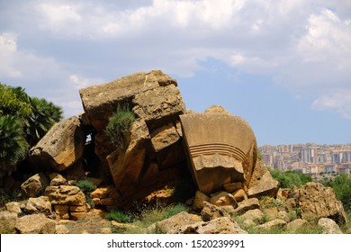 The cap of the Doric column from the Temple of olympian zeus. Valley of the Temples, Agrigento (ancient Akragas), Sicily.