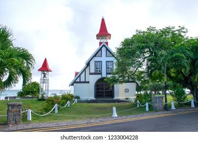 Cap Malheureux, Mauritius - 18 April, 2018: Notre Dame Auxiliatrice, is a fishermens church which built in 1975