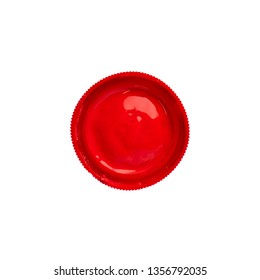 Cap from a red gouache jar paints - top view, isolated on white background with copy space. Cans of different colors gouache paints.