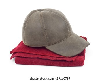 Cap and scarf isolated on white background