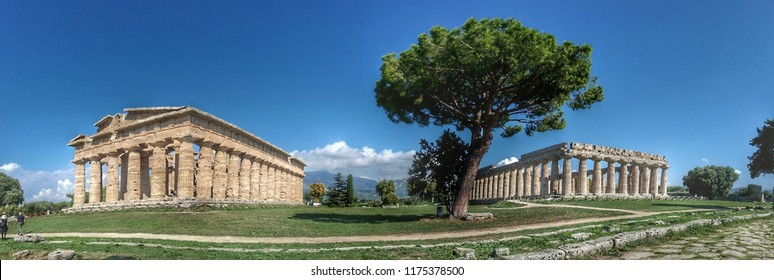 Capaccio, Italy - 8th September 2018 - Paestum temples in a summer day
