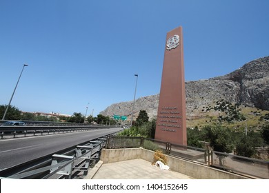 Capaci, Italy -3 July 2016 - The memorial monument on the site of the massacre of 23 May 1992 on the A29 highway