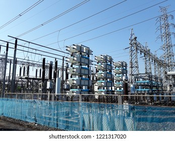 Capacitor bank in high voltage substation.