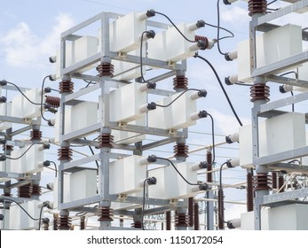 Capacitor bank of power switchgear.