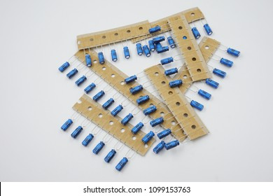 capacitor electronic parts on white background